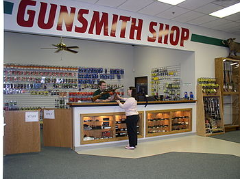 English: Gunsmith counter at H&H Shooting Spor...