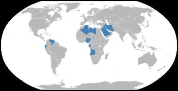 English: Map of OPEC countries. Dark green = m...