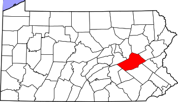 Map of Pennsylvania highlighting Schuylkill County