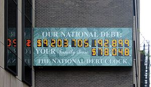 Cropped version US national debt clock / billb...