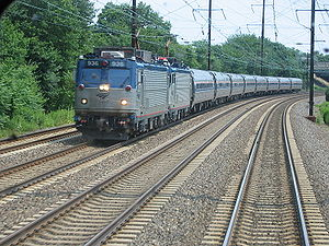 An Amtrak train on the NEC in NJ, as seen from...