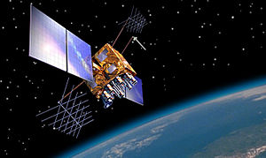 Artist's impression of a GPS-IIRM satellite in...