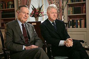 """English: """"Former Presidents George H. W. ..."""