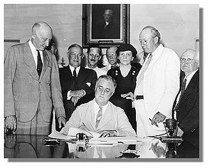 Roosevelt Signs The : President Roosevelt sign...