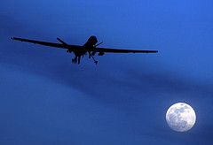 U.S. Predator drone flies over Kandahar Air Field