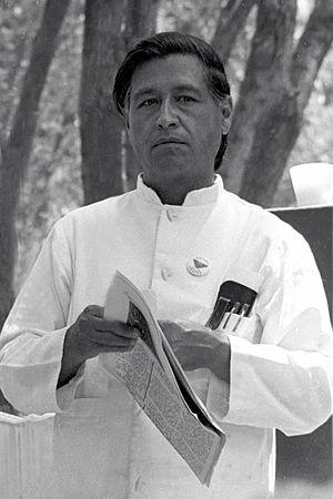 Duncan West speaking with Cesar Chavez. The De...