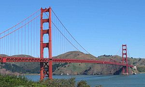The Golden Gate Bridge in San Francisco, one o...