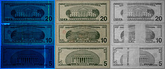 US Currency in UV, visible and IR light