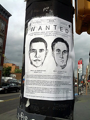 Obama and Romney wanted poster, Brooklyn, New ...