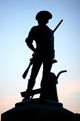 Minuteman statue at sunset