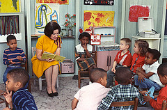 Photograph of Lady Bird Johnson Visiting a Cla...