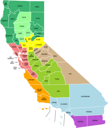 English: Economic regions of California, as de...