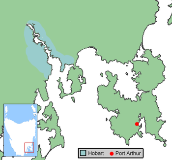 Location of Port Arthur, where the majority of...