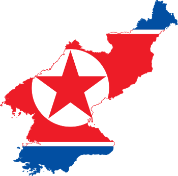 Flag-map of North Korea
