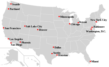 English: U.S. Sanctuary Cities Map: cities tha...