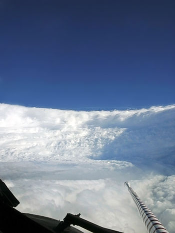 View of the eyewall of Hurricane Katrina taken...