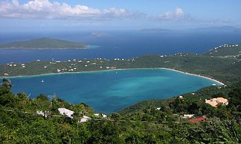 English: Looking down at Magens Bay from Mount...